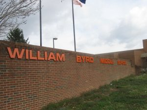 William Byrd Middle School announces A and A/B Honor Rolls for 1st Nine weeks